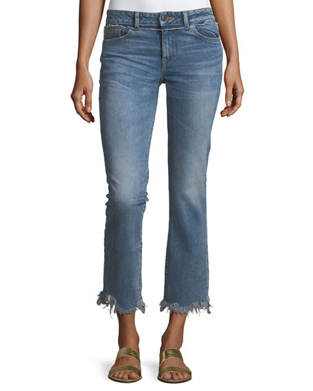DL 1961 Mara Ankle Straight Jeans w/ Distressed