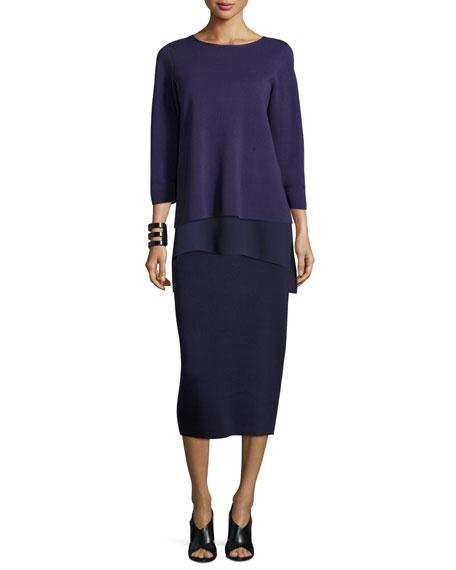 Washable Silk/Cotton Midi Pencil Skirt, Plus Size