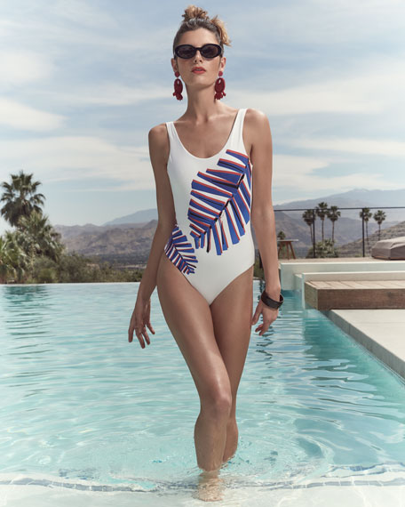 Kelly One-Piece Swimsuit, White Multi