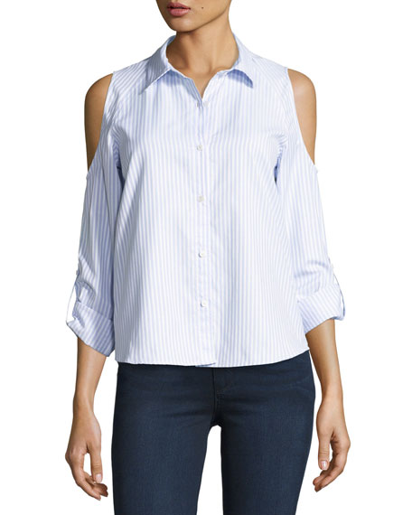 Generation Love McKenna Striped Button-Front Shirt, Blue/White
