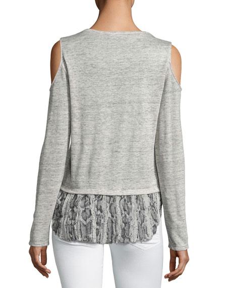 Talia Snake Linen Top, Gray Multi Pattern