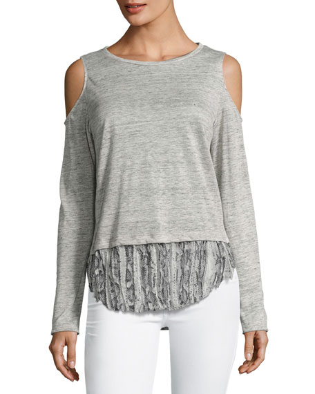 Generation Love Talia Snake Linen Top, Gray Multi