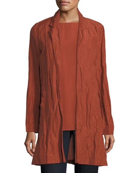 Rumpled Organic Cotton-Blend Jacket, Plus Size
