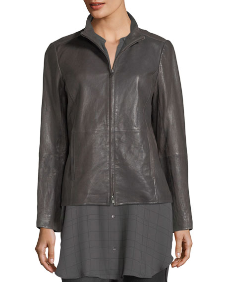 Rumpled Leather Zip-Front Jacket