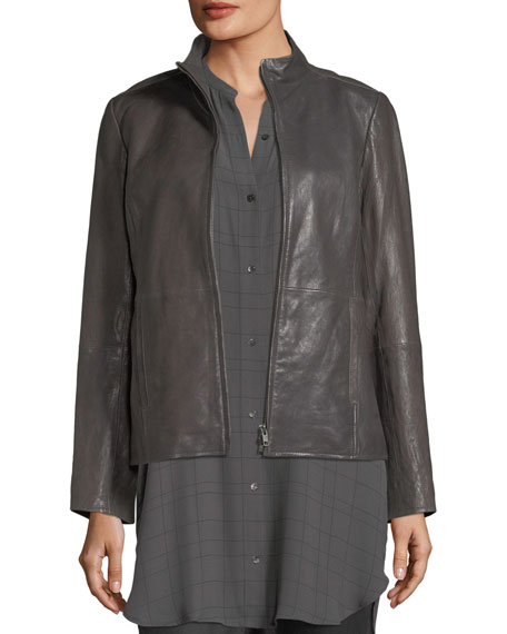Eileen Fisher Rumpled Leather Zip-Front Jacket and Matching