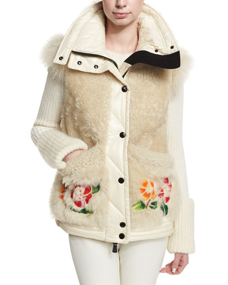 Moncler Diamant Fur Puffer Embroidered Jacket and Matching