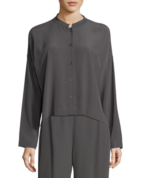 Eileen Fisher Long-Sleeve Mandarin-Collar Crinkle Crepe Box Top,