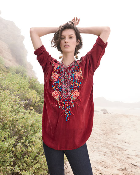 Gemstone Embroidery Long-Sleeve Blouse, Plus Size