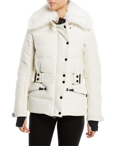Belleville Fur-Collar Belted Coat