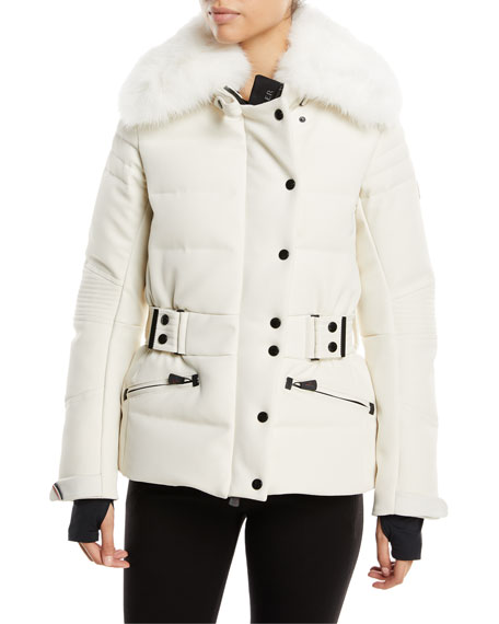 Moncler Belleville Fur-Collar Belted Coat