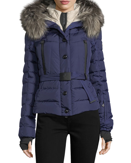 Moncler Beverly Fox Fur Trim Hooded Coat