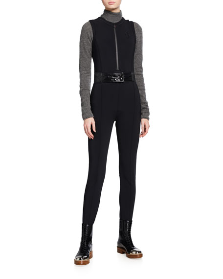Moncler Tuta Belted Stirrup Jumpsuit, Black and Matching