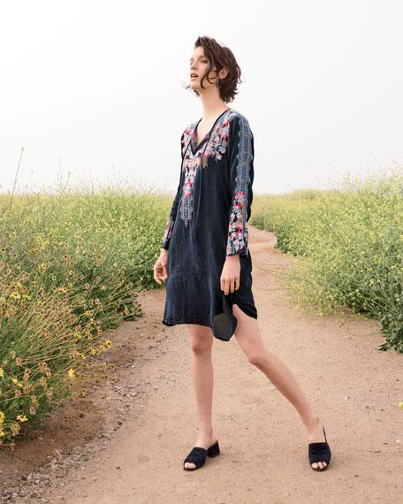 Tanyah Tie-Neck Embroidered Dress w/ Slip, Petite