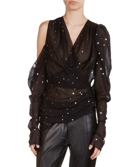 Magda Butrym Dresden Strass-Detail Sheer Wrap Top