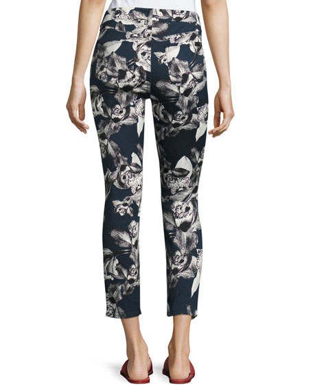Orchid-Print Cropped Skinny Jeans