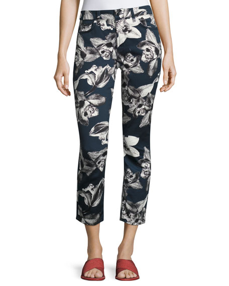 Jen7 by 7 for All Mankind Orchid-Print Cropped