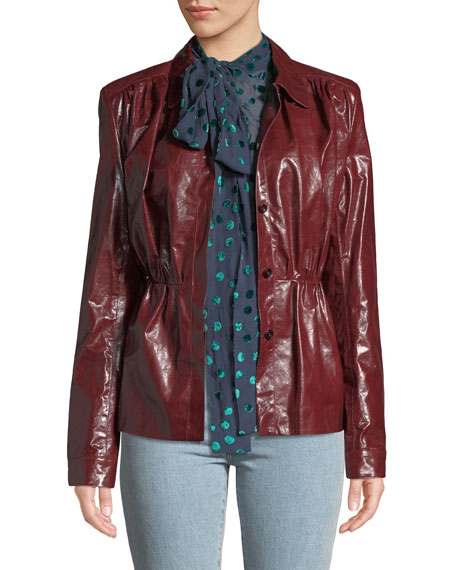 Magda Butrym Fargo Belted Leather Shirt Jacket