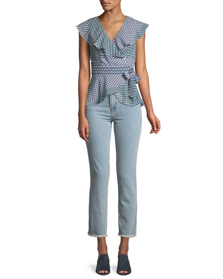 Evansville High-Waist Cropped Straight-Leg Jeans