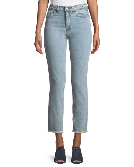 Magda Butrym Evansville High-Waist Cropped Straight-Leg Jeans and