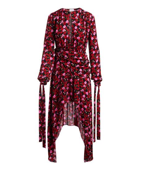 Gela Floral-Print Silk High-Low Midi Dress