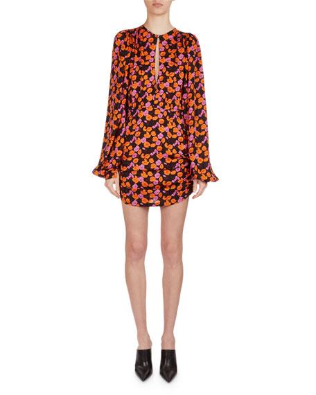 Magda Butrym Udine Floral-Print Silk Blouson Minidress