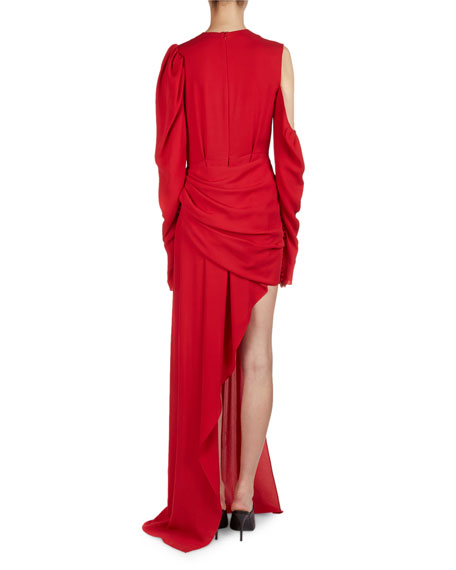 Sevilla Cold-Shoulder Draped Silk Cocktail Dress
