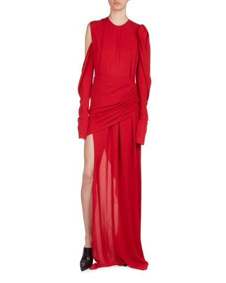 Magda Butrym Sevilla Cold-Shoulder Draped Silk Cocktail Dress