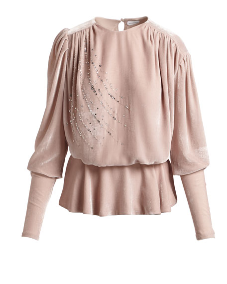 Asuncion Sequined & Strass Velvet Peplum Top, Pink