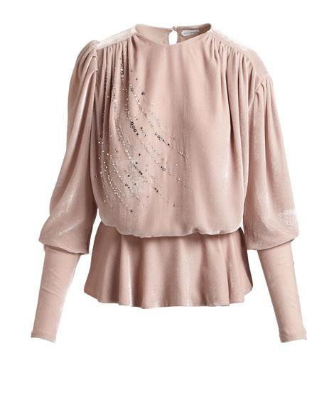 Asuncion Sequined & Strass Velvet Peplum Top, Pink