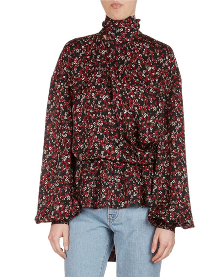 Magda Butrym Cali Floral-Print Silk Necktie Top