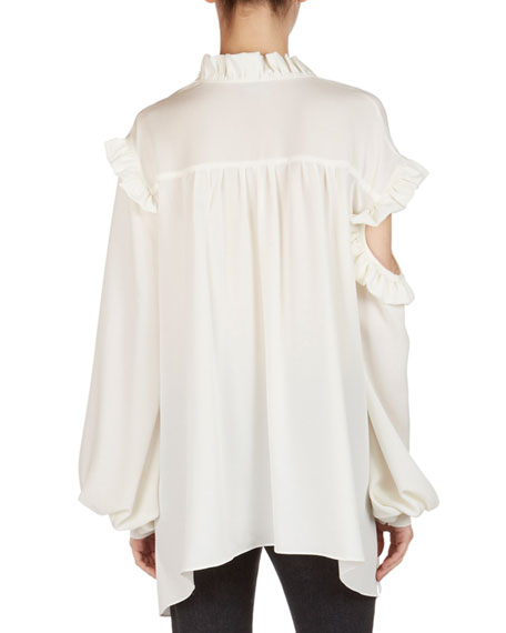 Forli Silk Split-Shoulder Ruffle Blouse