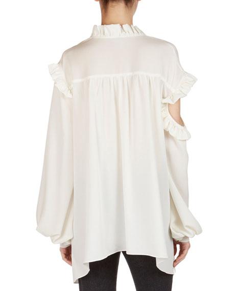 Forli Silk Split-Shoulder Ruffle Blouse