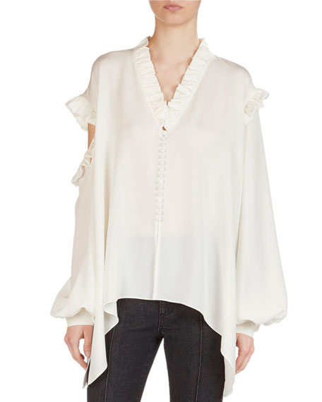 Magda Butrym Forli Silk Split-Shoulder Ruffle Blouse