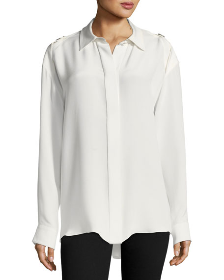 Crepe de Chine Button-Shoulder Blouse