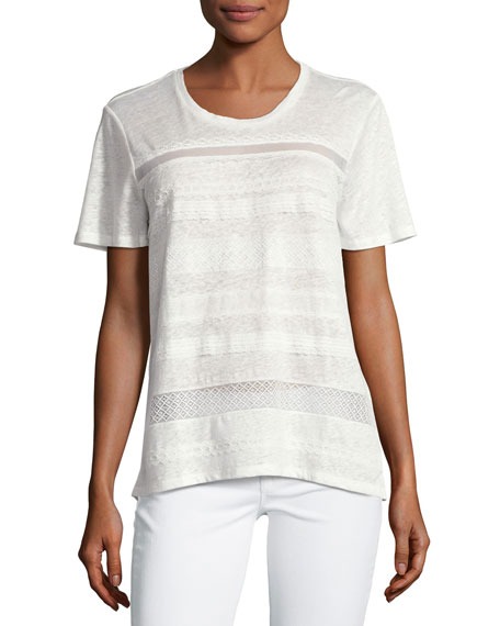 Burberry Lace Striped Linen Short-Sleeve T-Shirt