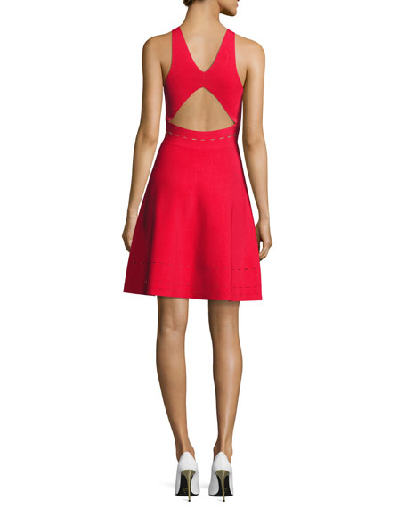 Pointelle Open-Back Short Cocktail Dress, Red