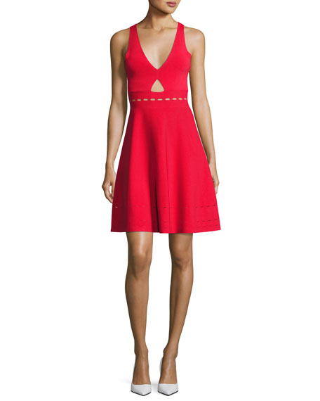 Kendall + Kylie Pointelle Open-Back Short Cocktail Dress,