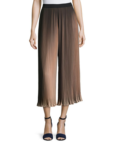 Pleated Two-Tone Wide-Leg Pants