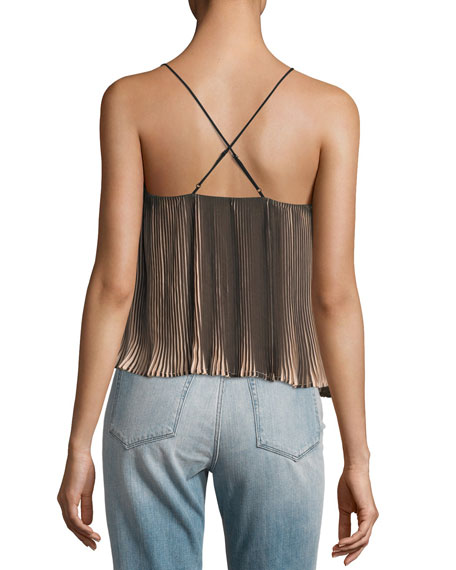 Pleated Two-Tone Spaghetti-Strap Top