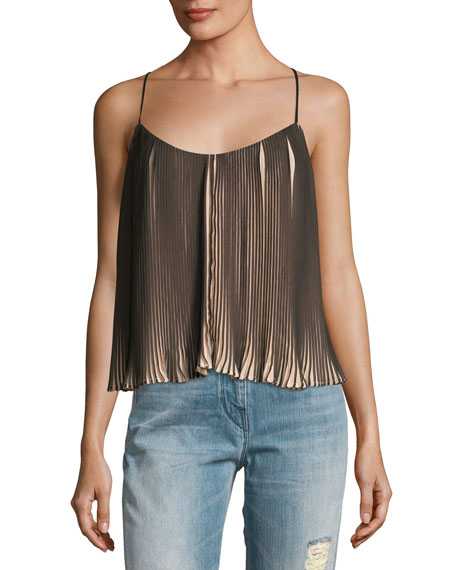 Kendall + Kylie Pleated Two-Tone Spaghetti-Strap Top