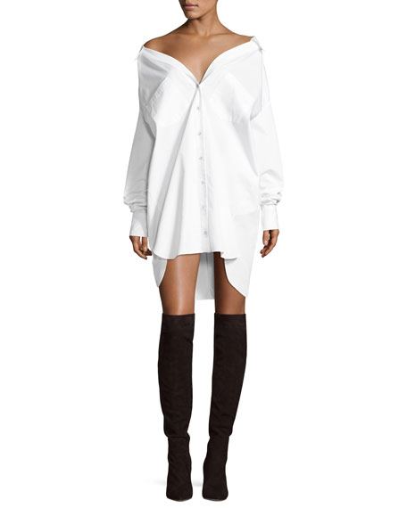 Kendall + Kylie Boyfriend Button-Front Cotton Shirtdress, White