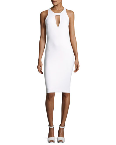 Sleeveless Cutout Ponte Cocktail Dress, White