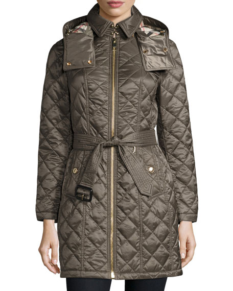 Burberry Baughton Quilted Belted Parka Jacket, Gray
