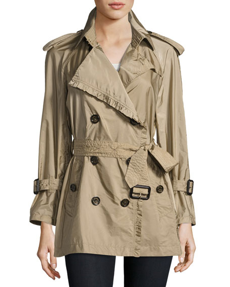 Burberry Ombersley Packaway Ruffled Rain Trench Coat