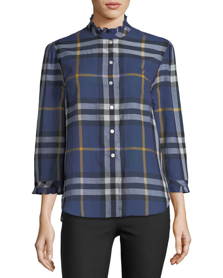 Burberry Salla Ruffle-Trim Check Shirt