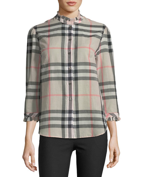 Salla Ruffle-Trim Check Shirt