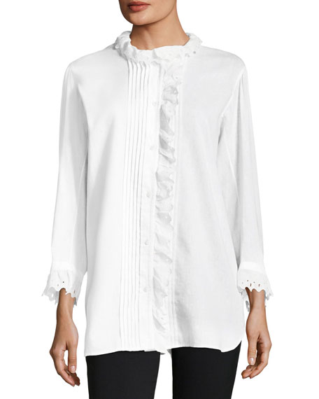 Burberry Begonia Big Shirt w/ Ruffle Trim