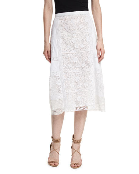 Burberry Drin Mixed-Lace Paneled A-line Skirt