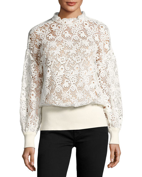 Lace Ribbed-Trim Blouse