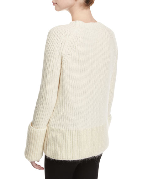 Wide Gauge Crew-Neck Sweater, White